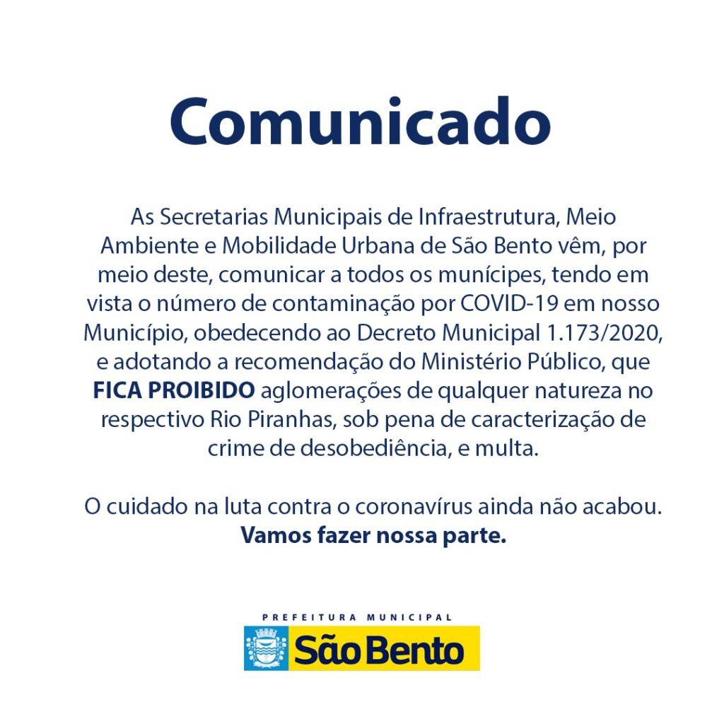 WhatsApp Image 2020 09 06 at 5.44.23 PM 1024x1024 - Secretarias emitem comunicado à população sobre o Rio Piranhas - São Bento